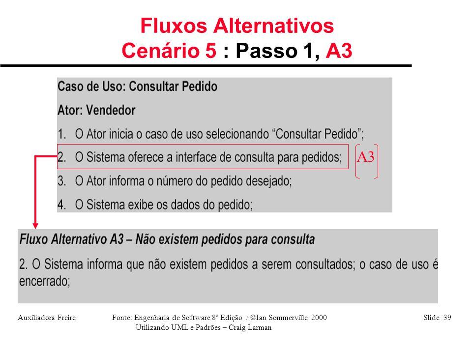 Fluxos Alternativos Cenário 5 : Passo 1, A3