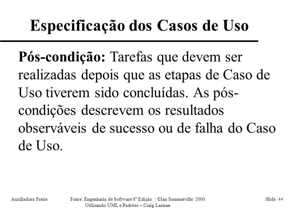 Especificação dos Casos de Uso