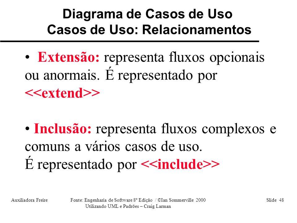 Diagrama de Casos de Uso Casos de Uso: Relacionamentos