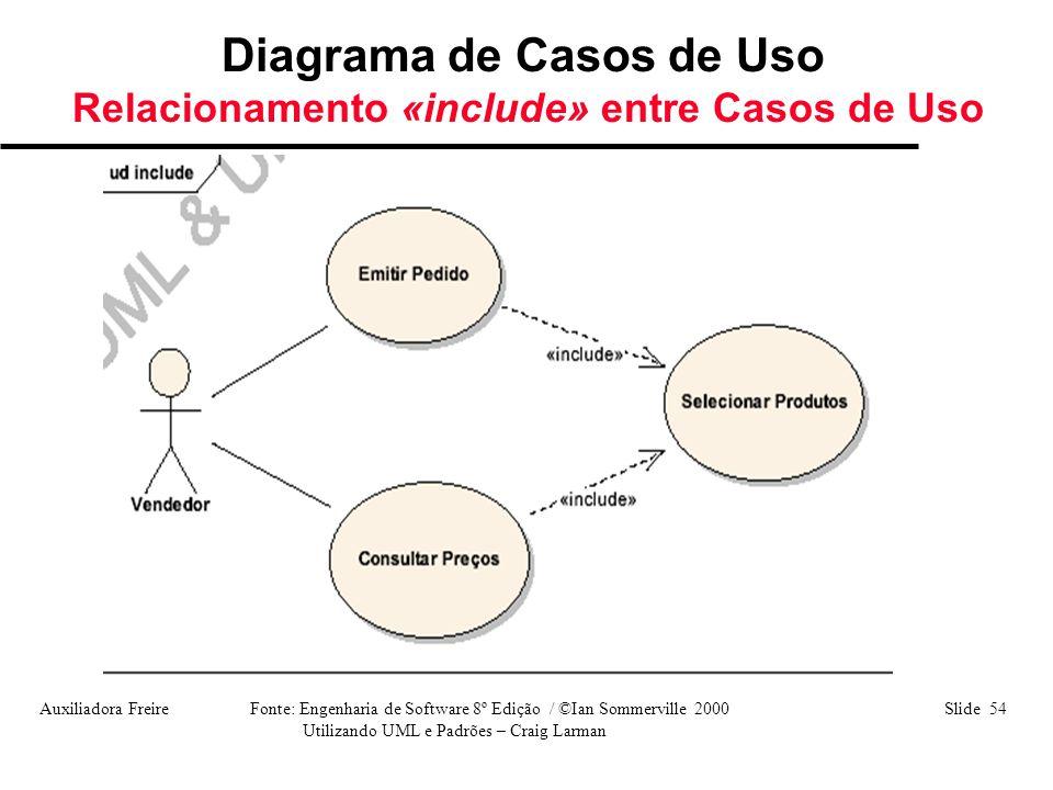 Diagrama de Casos de Uso Relacionamento «include» entre Casos de Uso