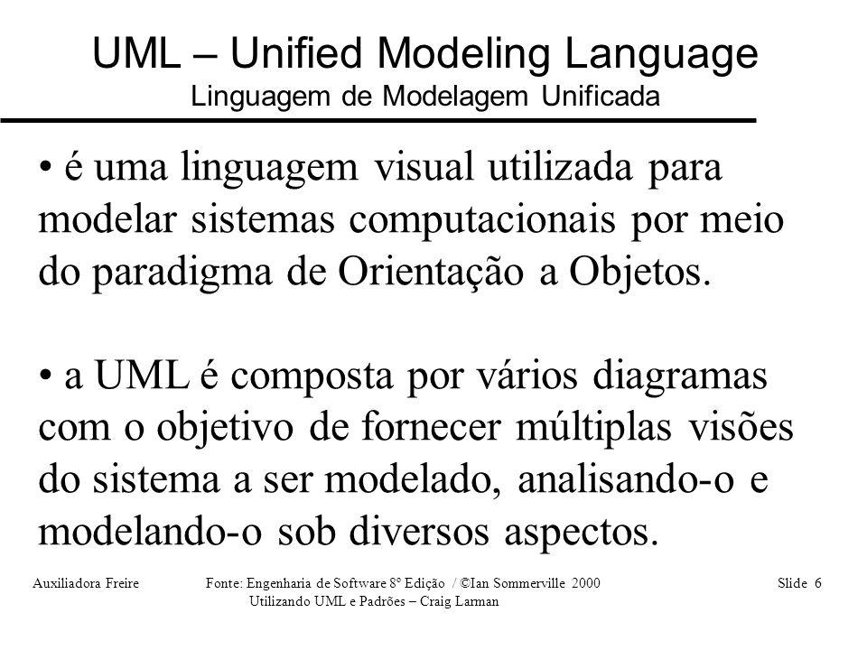UML – Unified Modeling Language Linguagem de Modelagem Unificada