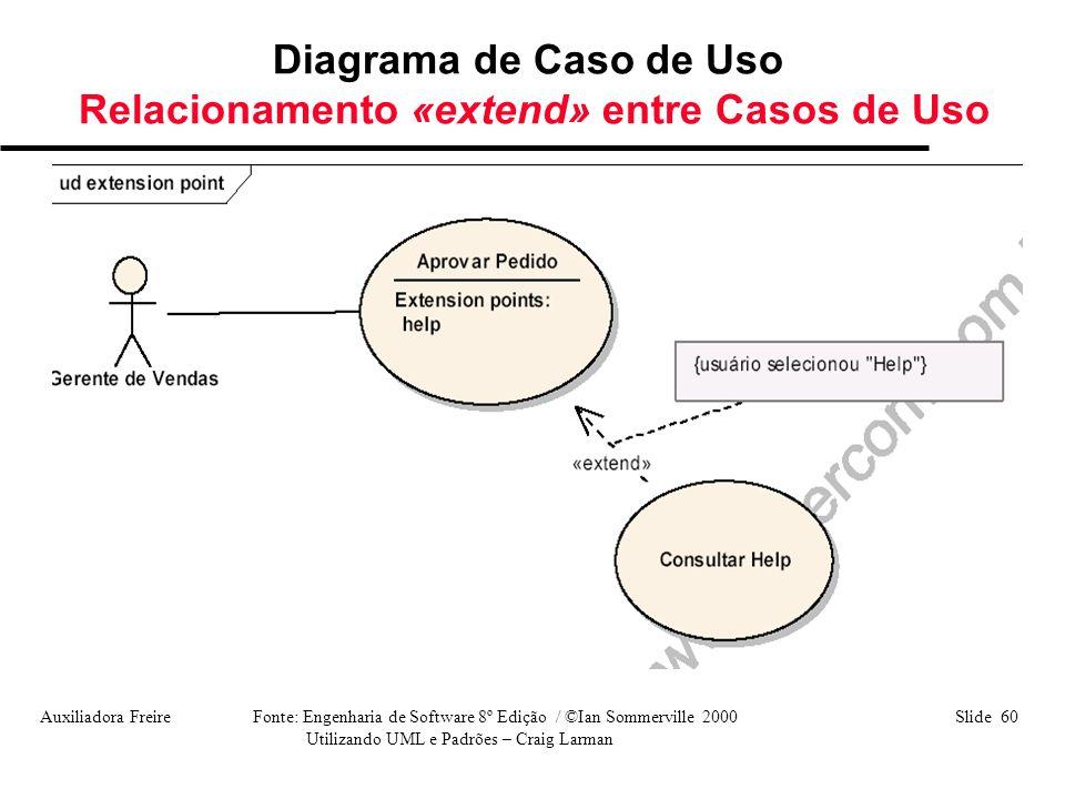 Diagrama de Caso de Uso Relacionamento «extend» entre Casos de Uso