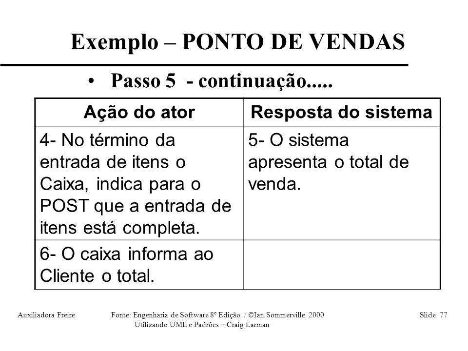 Exemplo – PONTO DE VENDAS