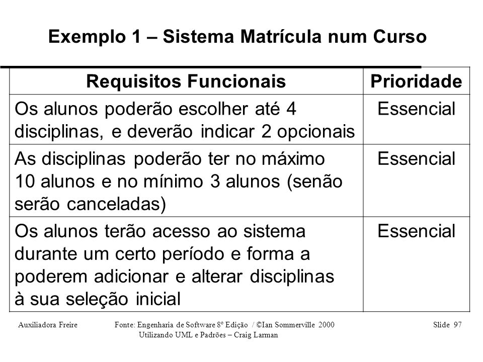 Exemplo 1 – Sistema Matrícula num Curso Requisitos Funcionais