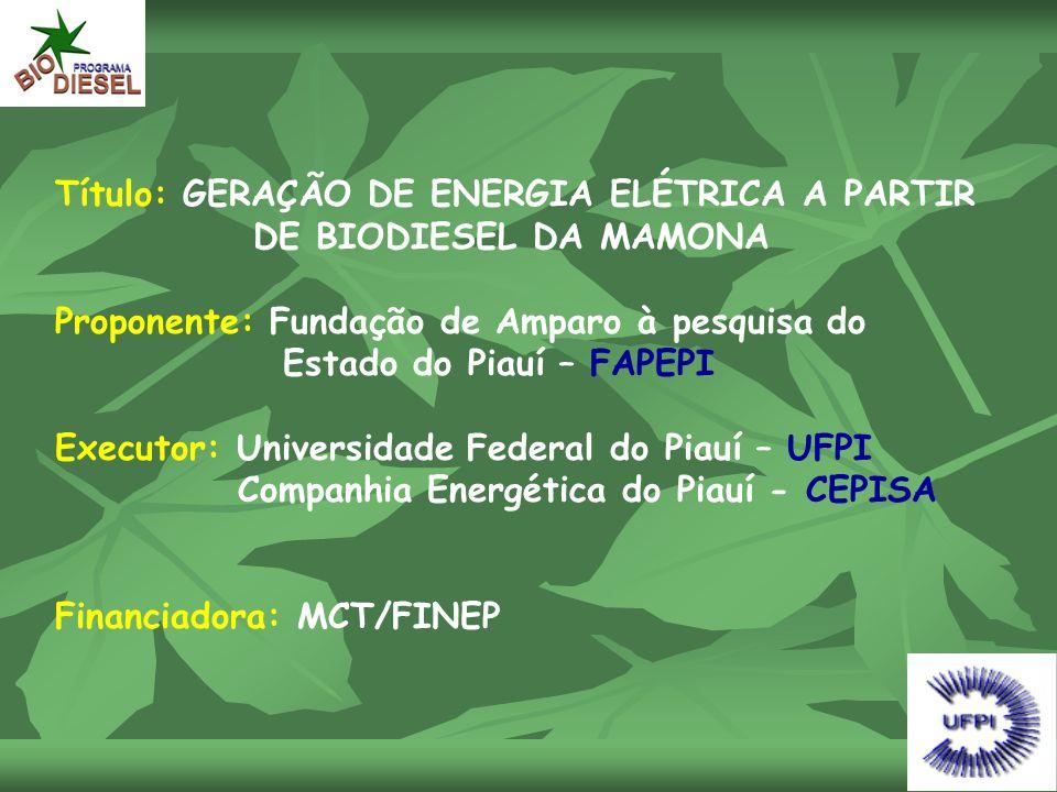 Título: GERAÇÃO DE ENERGIA ELÉTRICA A PARTIR