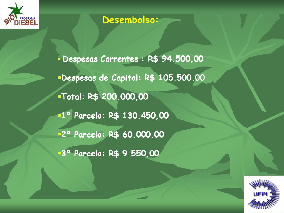 Desembolso: Despesas de Capital: R$ 105.500,00 Total: R$ 200.000,00