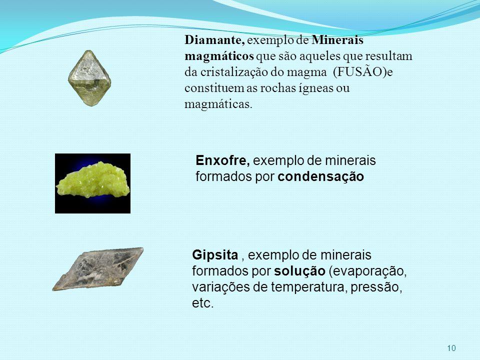 Diamante, exemplo de Minerais magmáticos que são aqueles que resultam da cristalização do magma (FUSÃO)e constituem as rochas ígneas ou magmáticas.