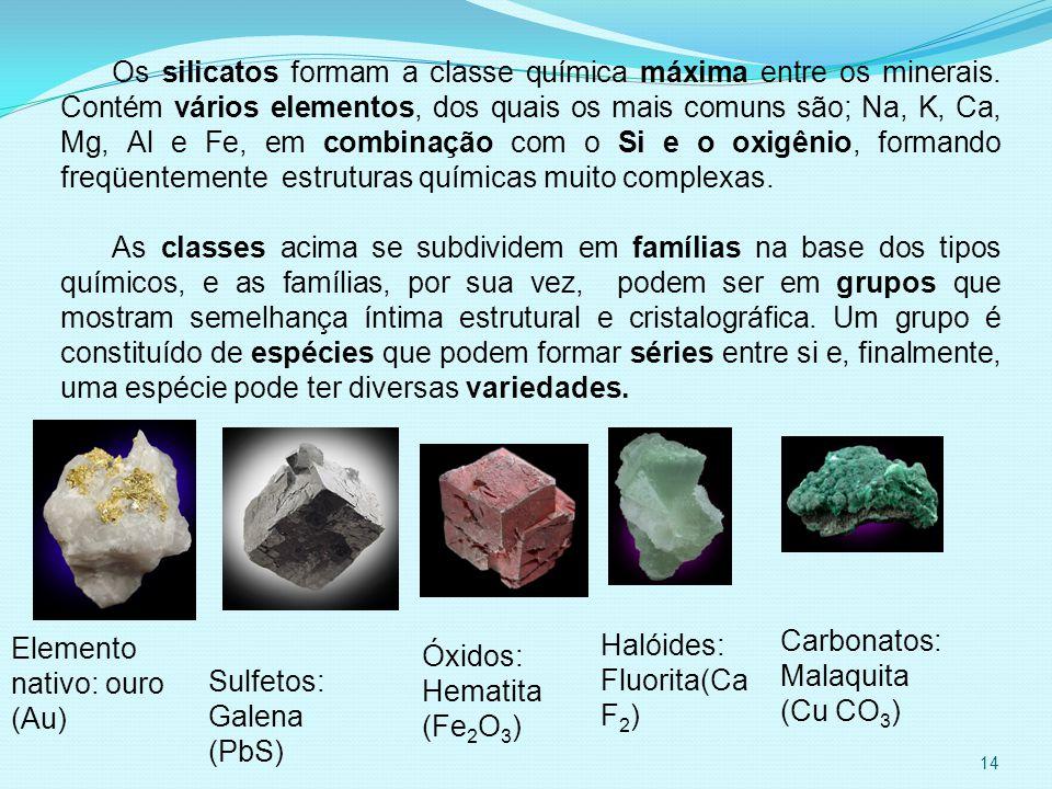 Os silicatos formam a classe química máxima entre os minerais