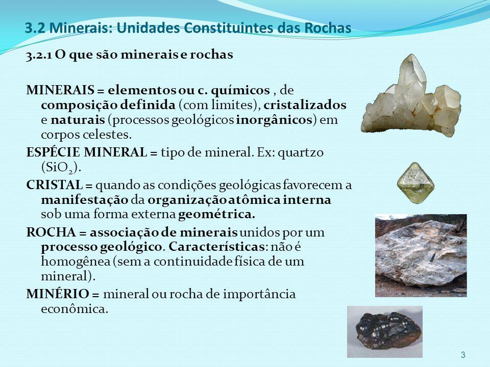 3.2 Minerais: Unidades Constituintes das Rochas