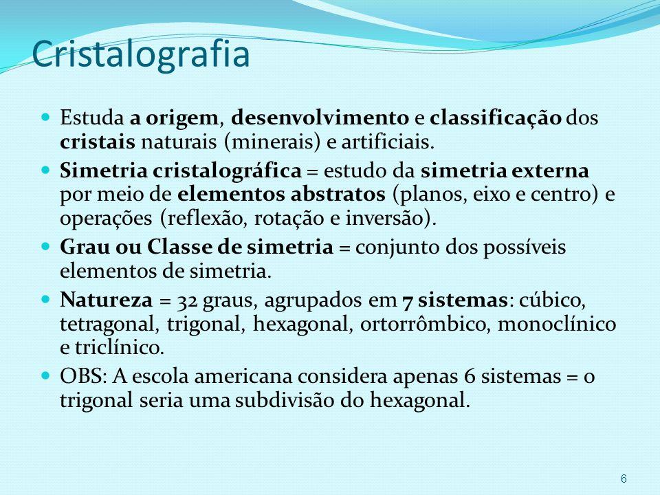 Cristalografia Estuda a origem, desenvolvimento e classificação dos cristais naturais (minerais) e artificiais.