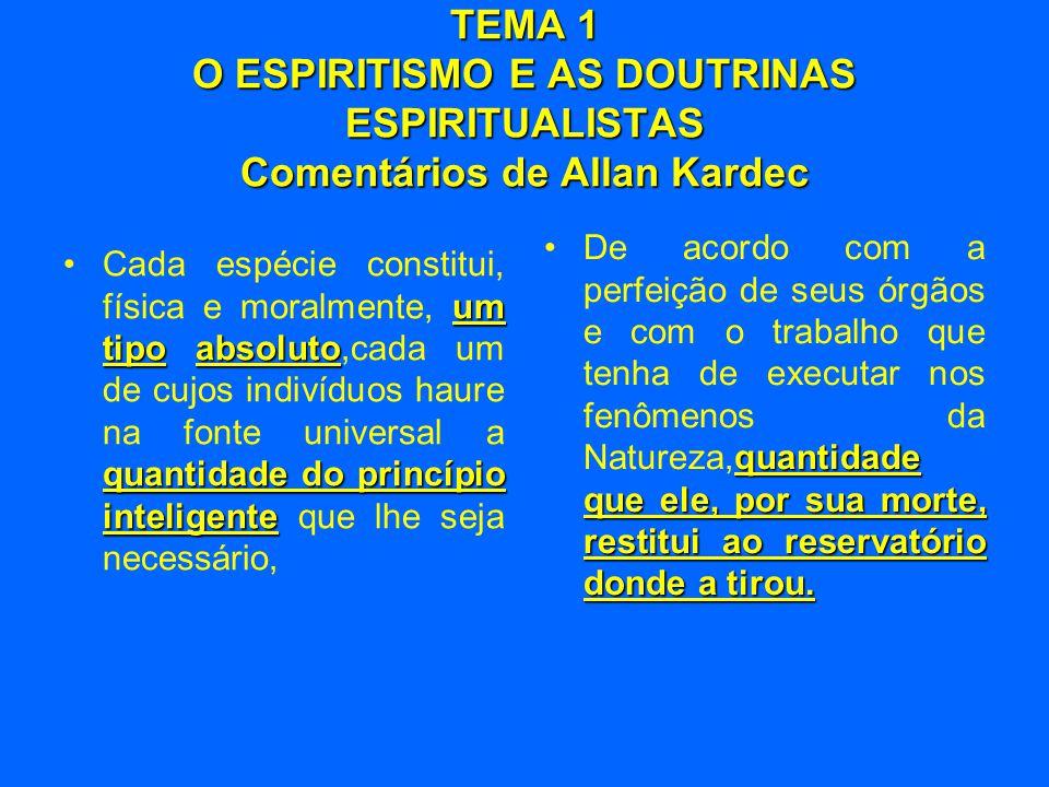 TEMA 1 O ESPIRITISMO E AS DOUTRINAS ESPIRITUALISTAS Comentários de Allan Kardec
