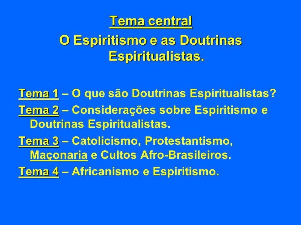 O Espiritismo e as Doutrinas Espiritualistas.