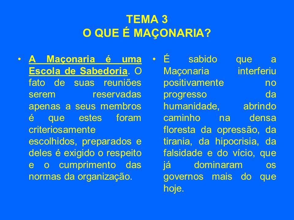TEMA 3 O QUE É MAÇONARIA