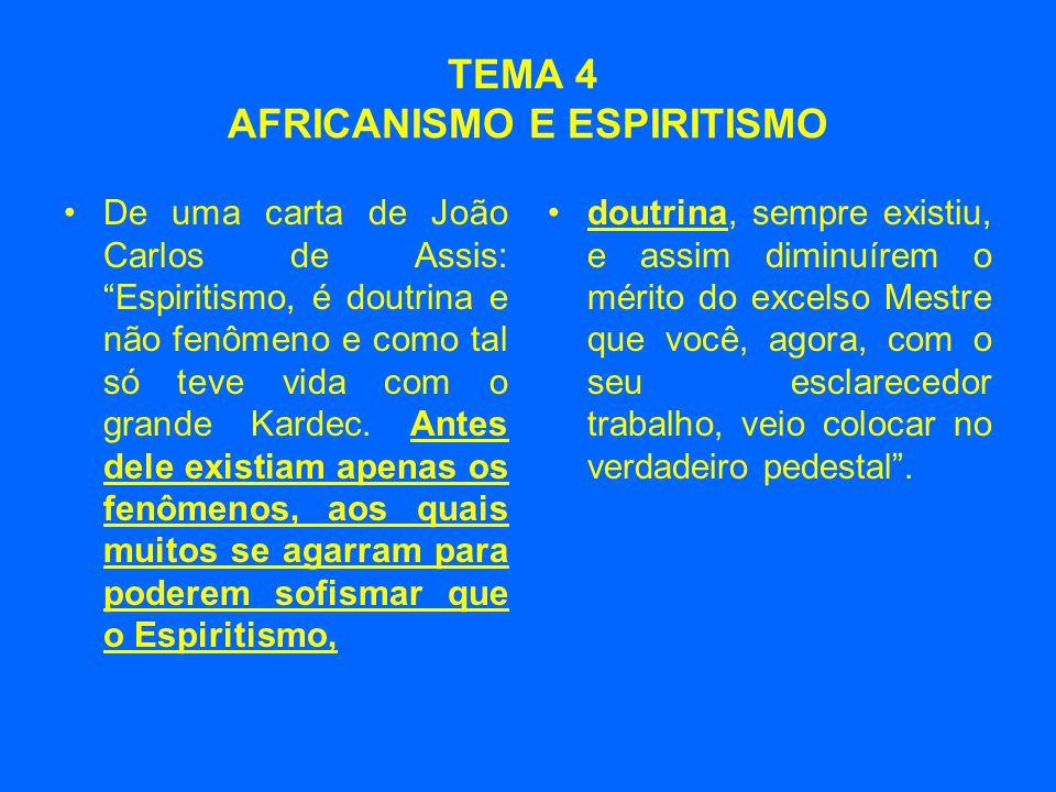 TEMA 4 AFRICANISMO E ESPIRITISMO