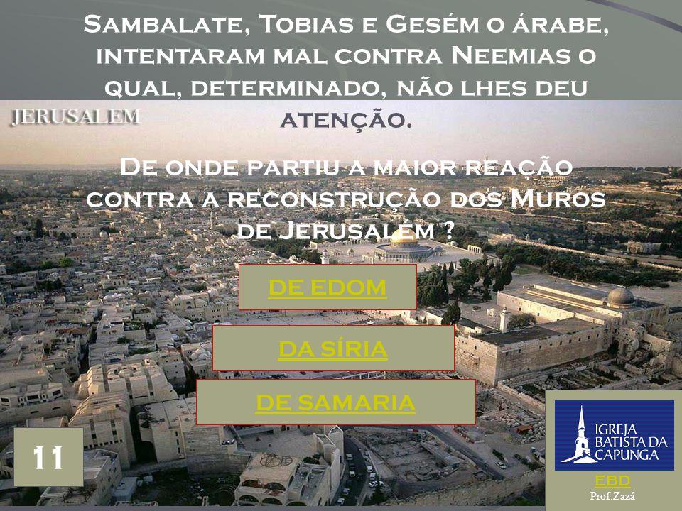 Sambalate, Tobias e Gesém o árabe, intentaram mal contra Neemias o qual, determinado, não lhes deu atenção.