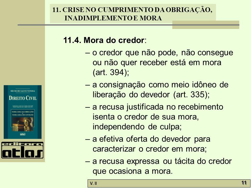 11.4. Mora do credor: – o credor que não pode, não consegue ou não quer receber está em mora (art. 394);