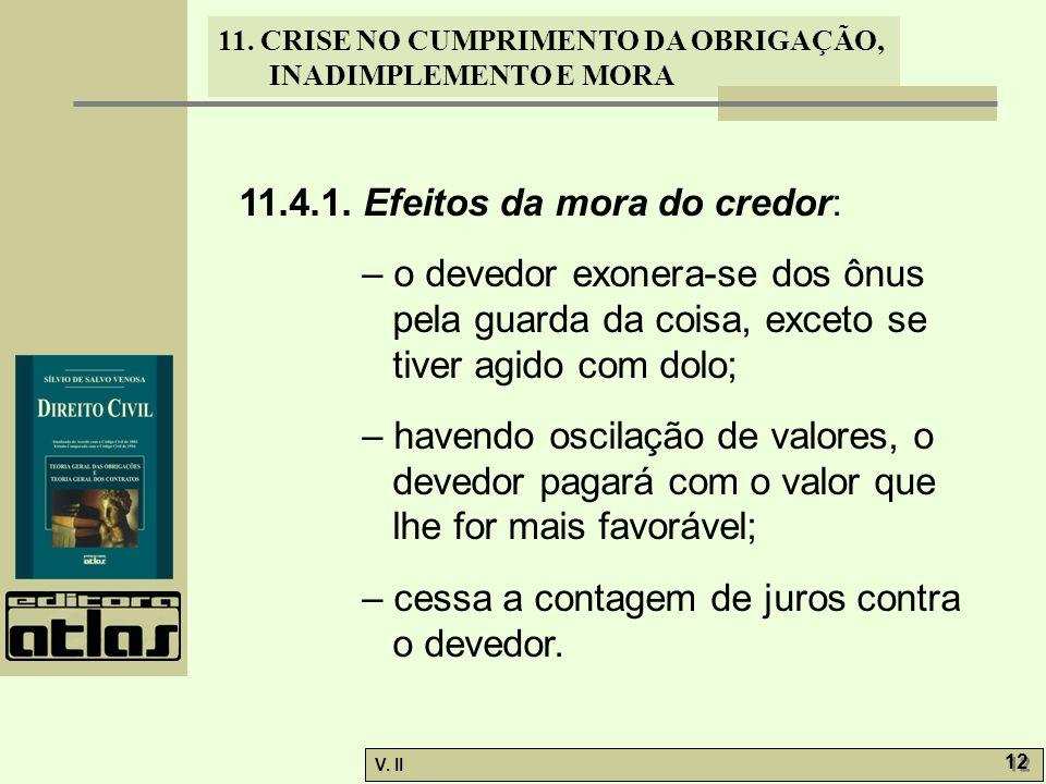 11.4.1. Efeitos da mora do credor: