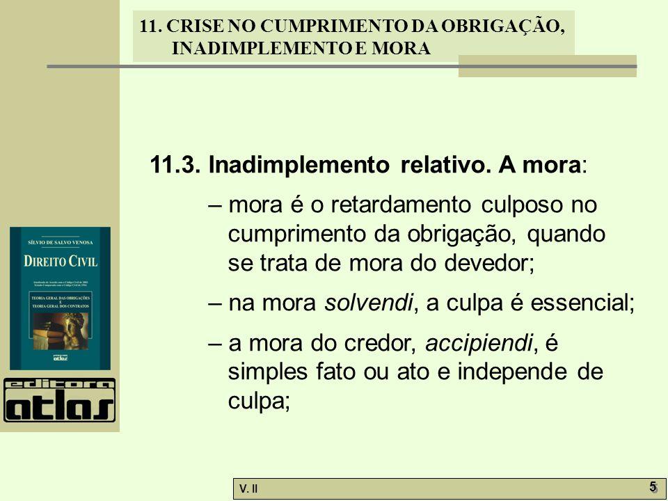 11.3. Inadimplemento relativo. A mora: