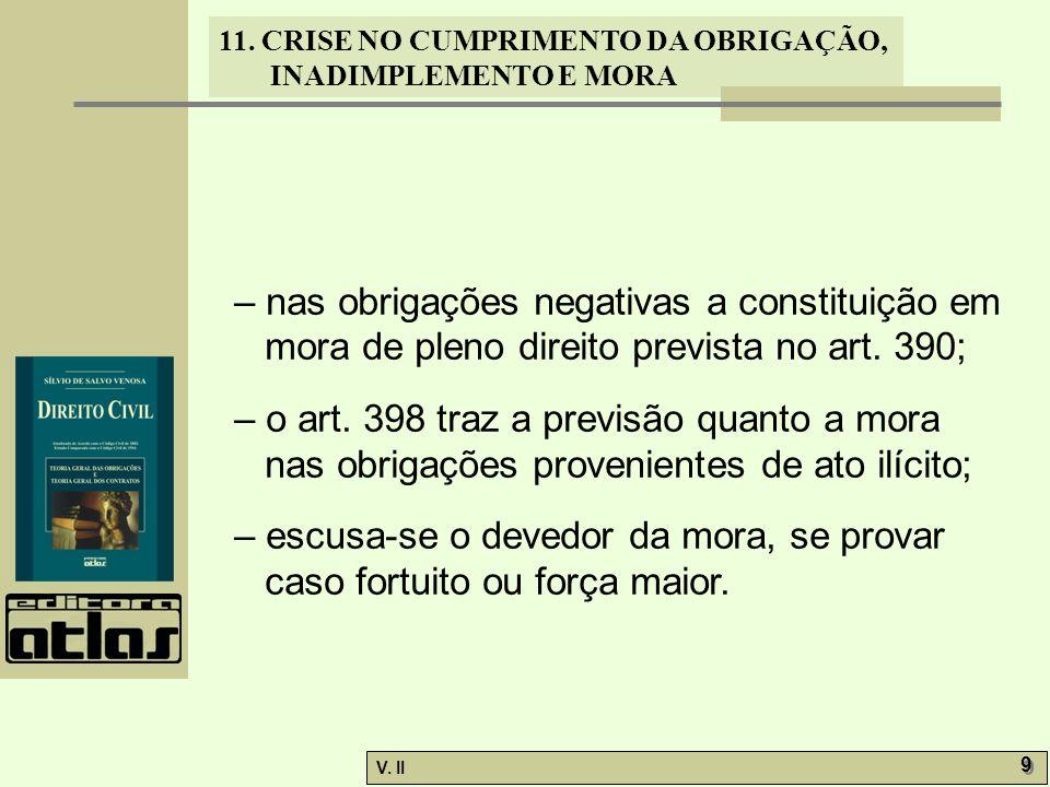 – nas obrigações negativas a constituição em mora de pleno direito prevista no art. 390;