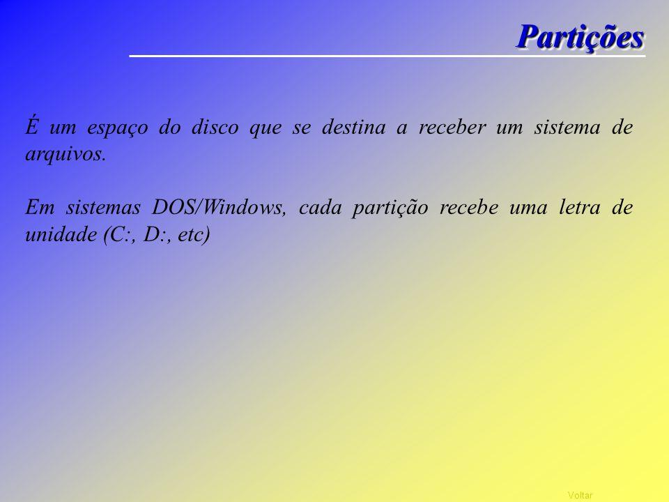 Partições É um espaço do disco que se destina a receber um sistema de arquivos.