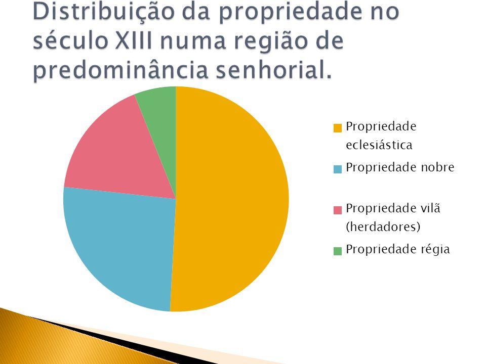 Distribuição da propriedade no século XIII numa região de predominância senhorial.