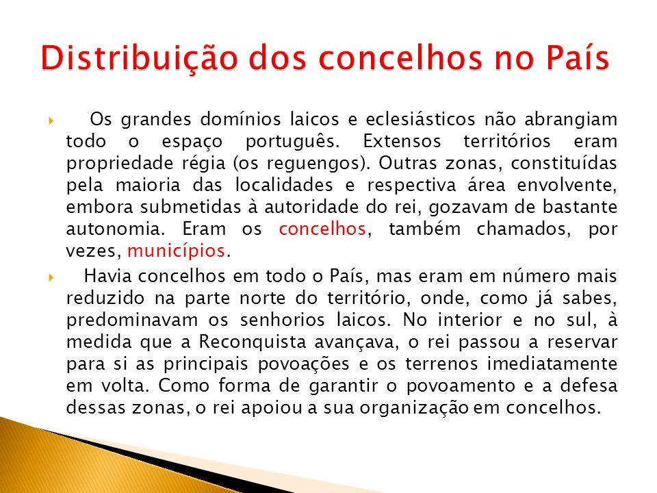 Distribuição dos concelhos no País