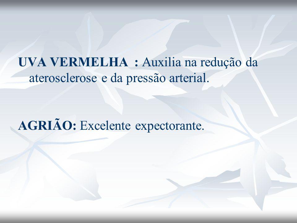 UVA VERMELHA : Auxilia na redução da aterosclerose e da pressão arterial.