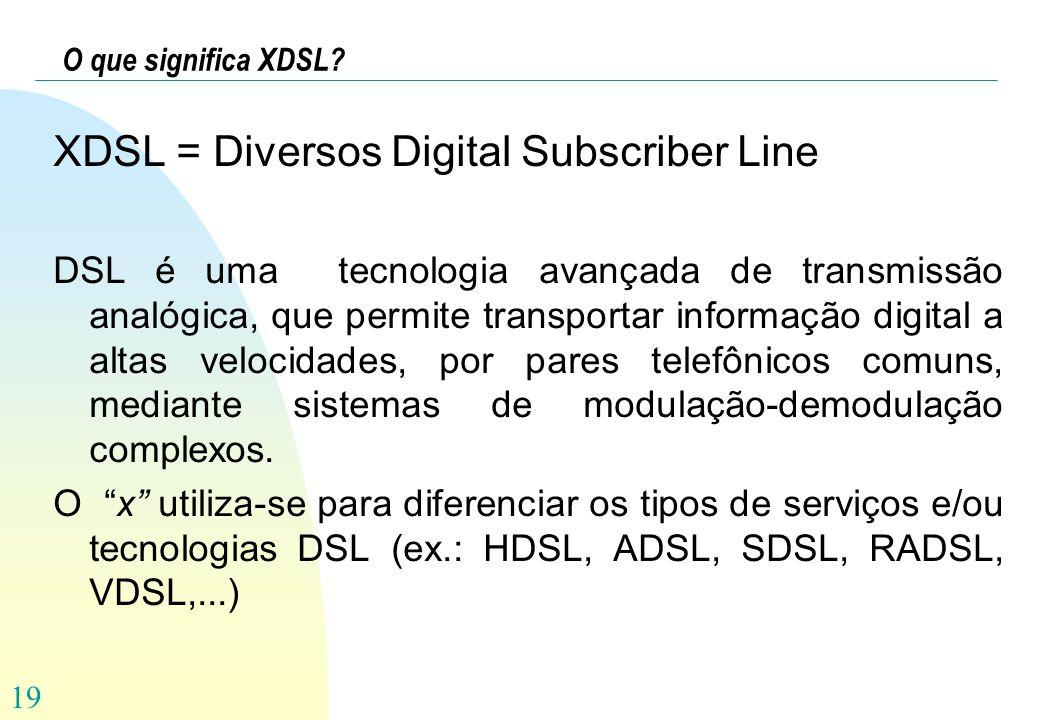XDSL = Diversos Digital Subscriber Line