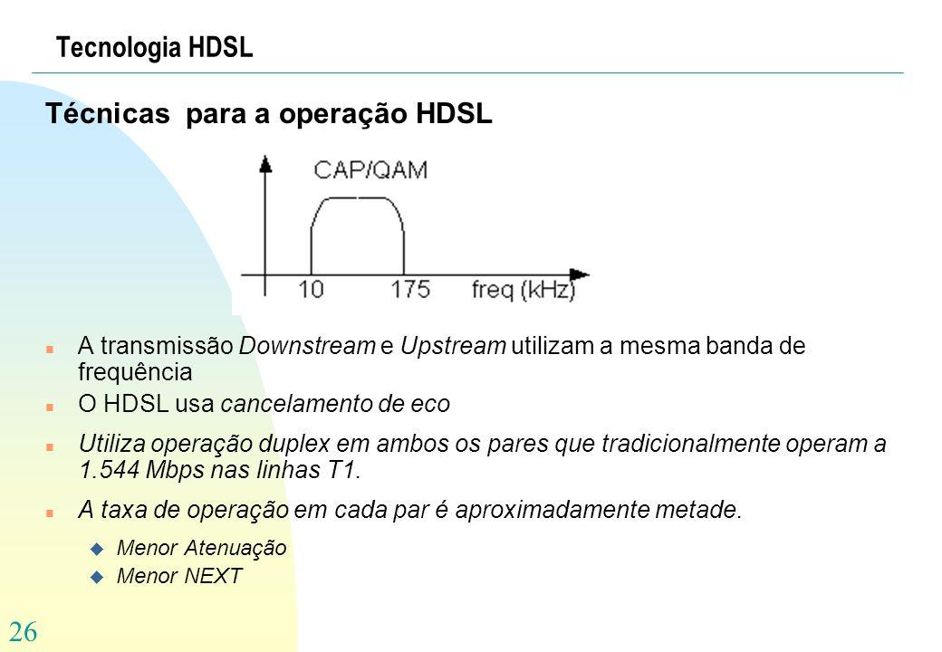 Técnicas para a operação HDSL