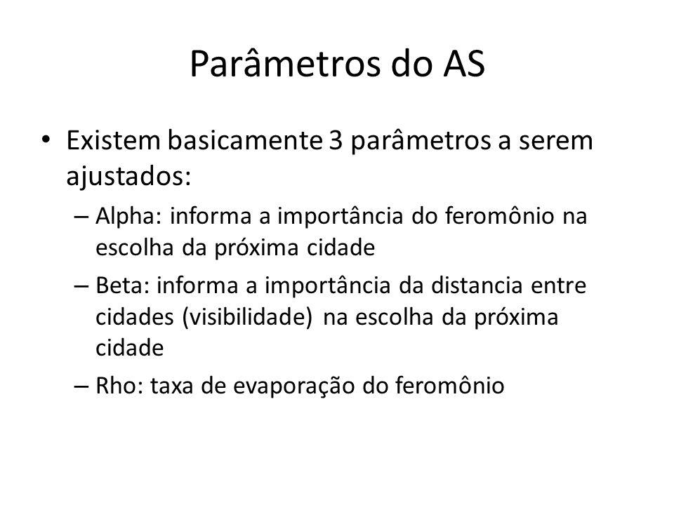 Parâmetros do AS Existem basicamente 3 parâmetros a serem ajustados: