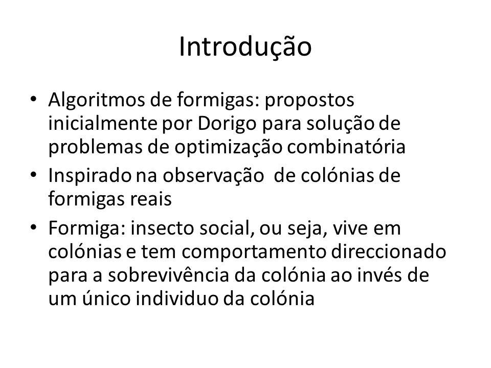 Introdução Algoritmos de formigas: propostos inicialmente por Dorigo para solução de problemas de optimização combinatória.