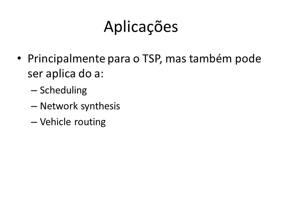 Aplicações Principalmente para o TSP, mas também pode ser aplica do a: