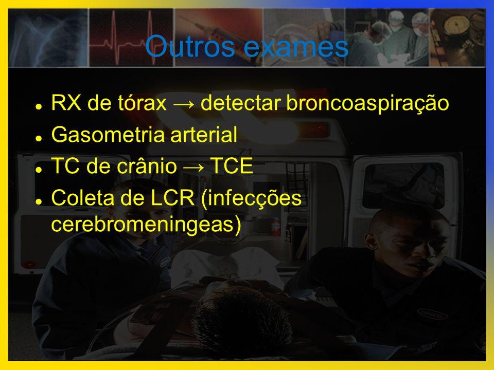Outros exames RX de tórax → detectar broncoaspiração