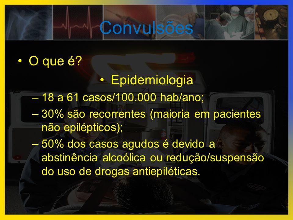 Convulsões O que é Epidemiologia 18 a 61 casos/100.000 hab/ano;