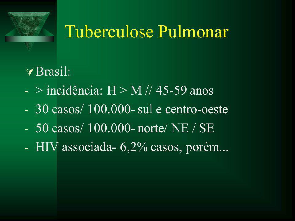 Tuberculose Pulmonar Brasil: > incidência: H > M // 45-59 anos