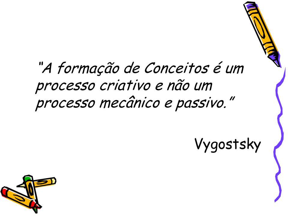 A formação de Conceitos é um processo criativo e não um processo mecânico e passivo.