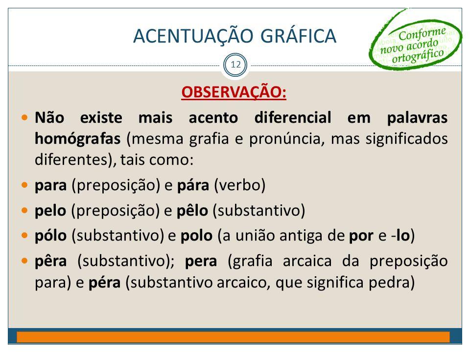 ACENTUAÇÃO GRÁFICA OBSERVAÇÃO: