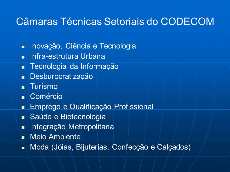Câmaras Técnicas Setoriais do CODECOM