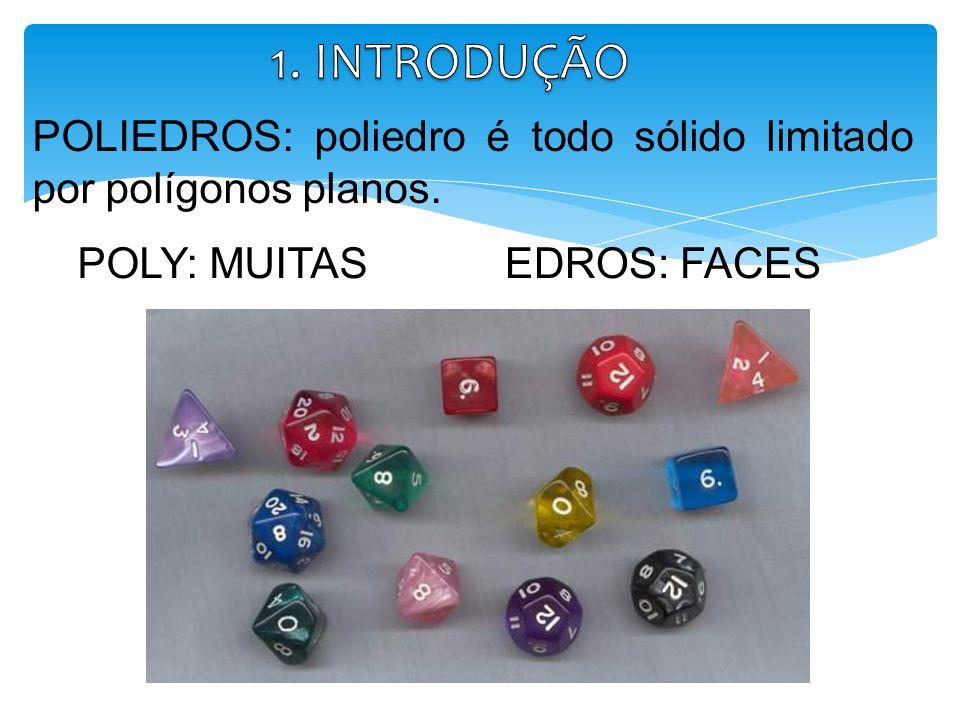 1. INTRODUÇÃO POLIEDROS: poliedro é todo sólido limitado por polígonos planos.