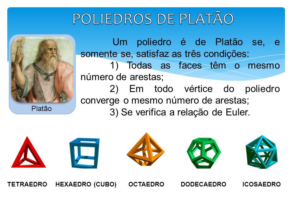 POLIEDROS DE PLATÃO Platão. Um poliedro é de Platão se, e somente se, satisfaz as três condições: 1) Todas as faces têm o mesmo número de arestas;