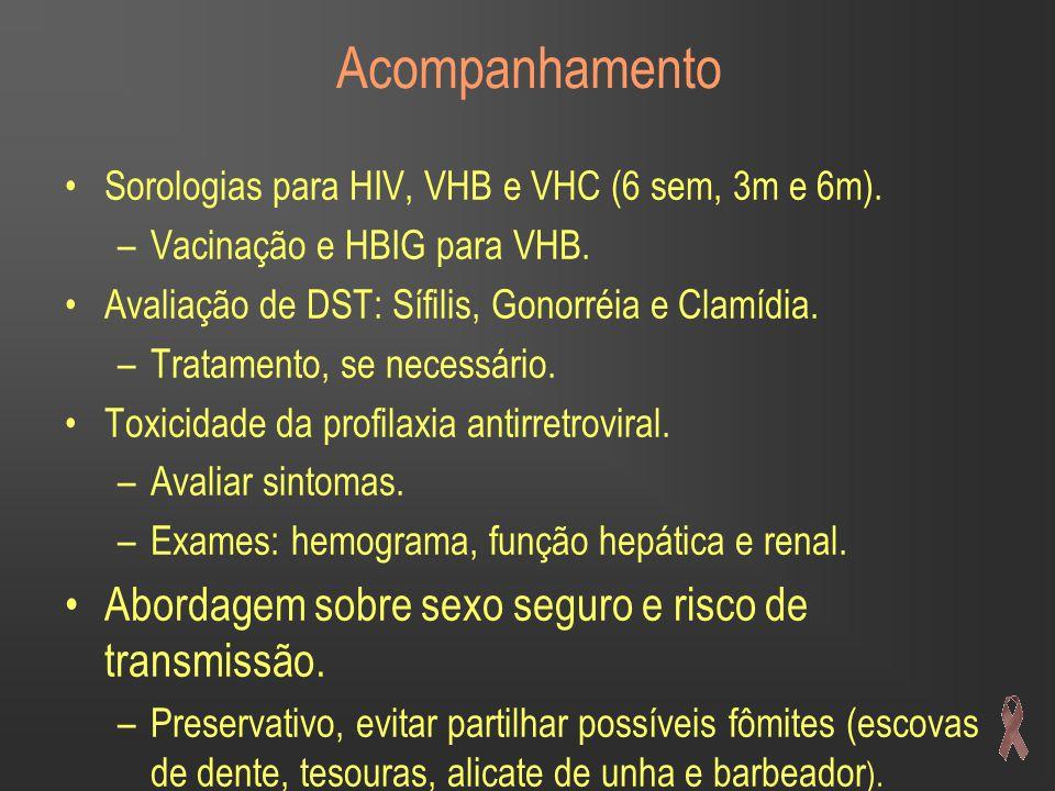 Acompanhamento Sorologias para HIV, VHB e VHC (6 sem, 3m e 6m).