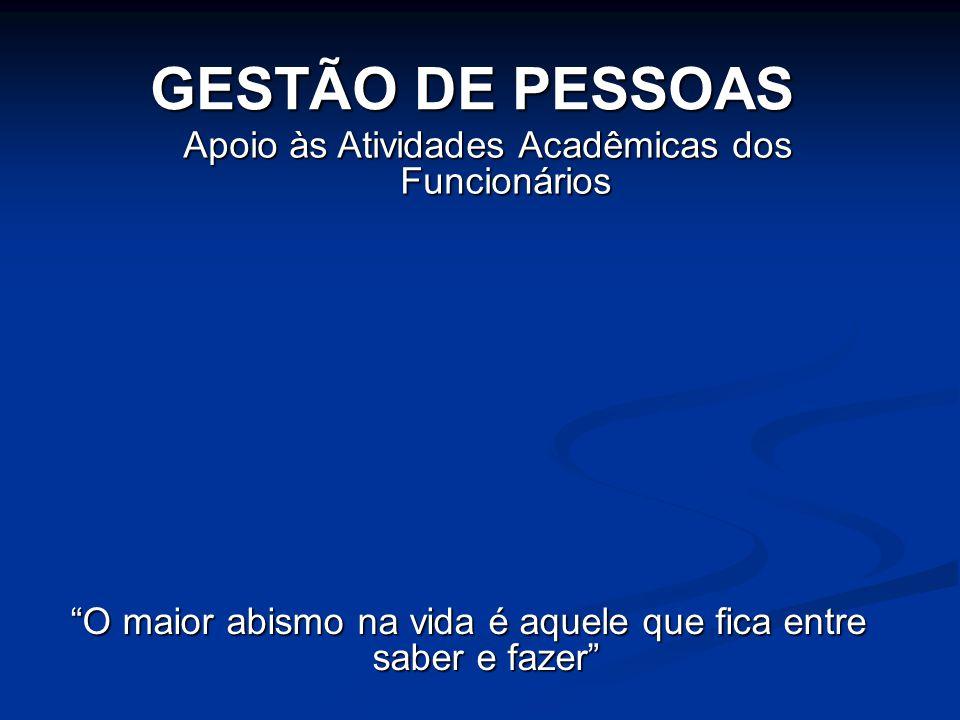 GESTÃO DE PESSOAS Apoio às Atividades Acadêmicas dos Funcionários