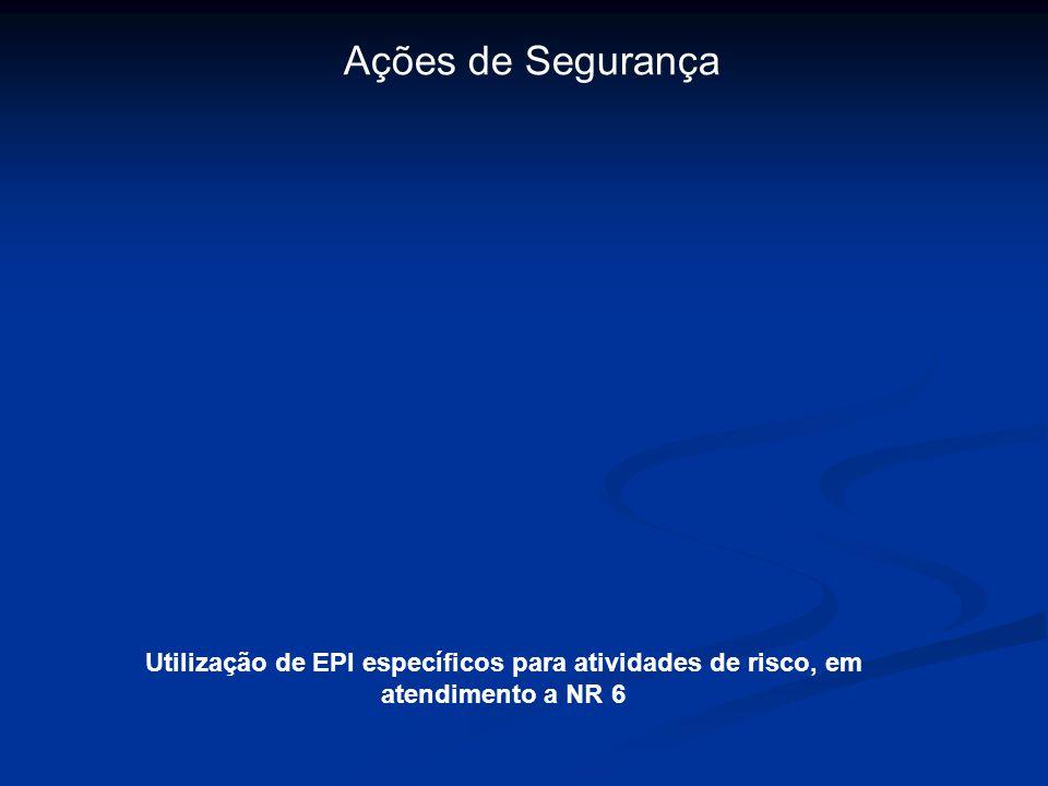 Ações de Segurança Utilização de EPI específicos para atividades de risco, em atendimento a NR 6