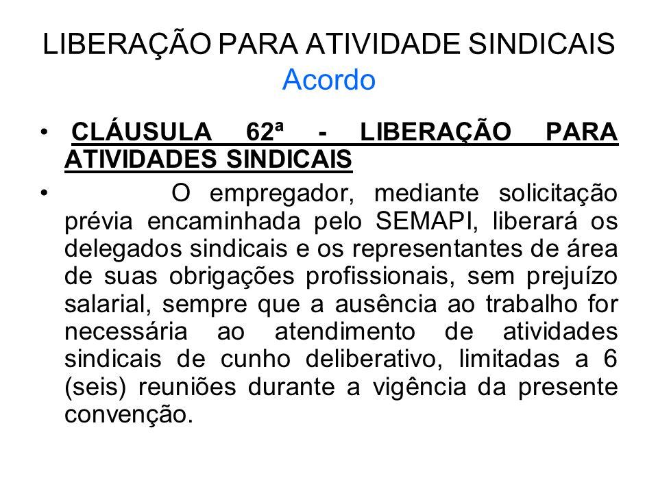 LIBERAÇÃO PARA ATIVIDADE SINDICAIS Acordo