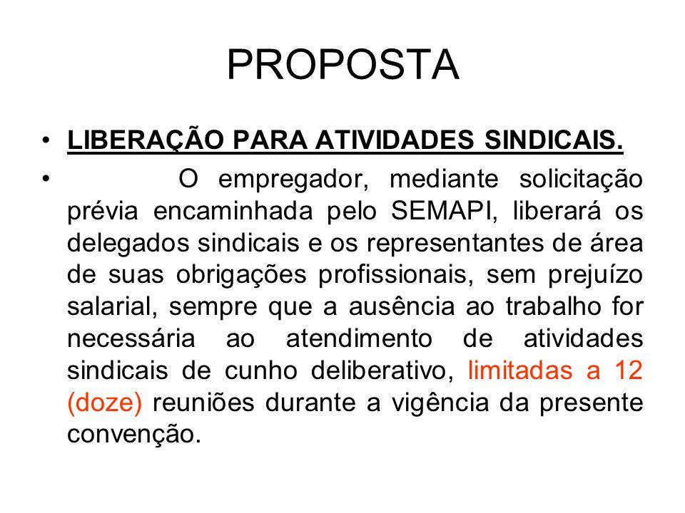 PROPOSTA LIBERAÇÃO PARA ATIVIDADES SINDICAIS.