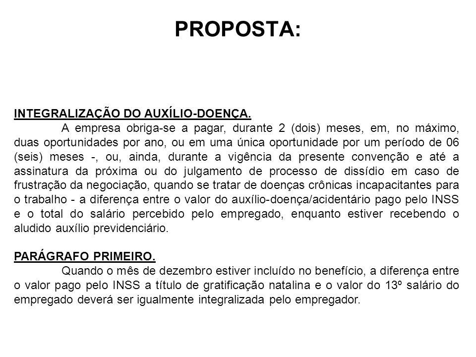 PROPOSTA: INTEGRALIZAÇÃO DO AUXÍLIO-DOENÇA.