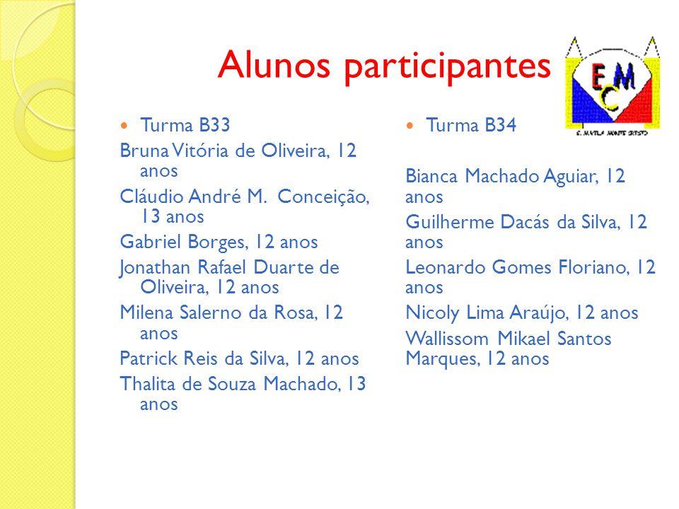 Alunos participantes Turma B33 Bruna Vitória de Oliveira, 12 anos