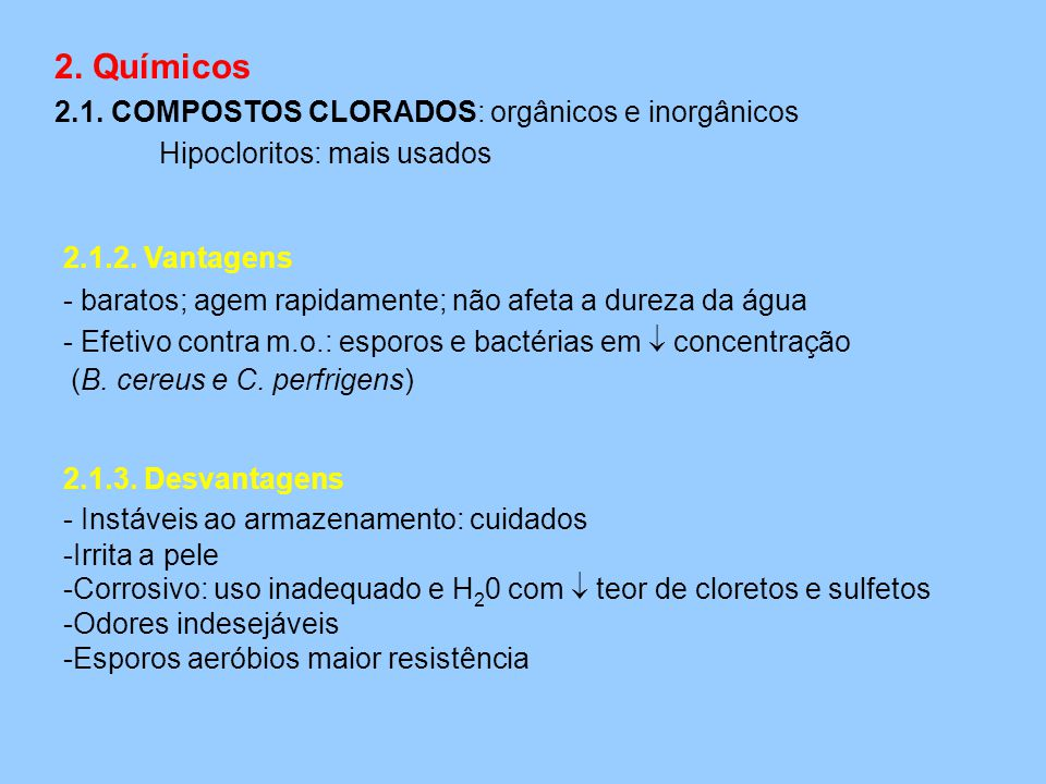 2. Químicos 2.1. COMPOSTOS CLORADOS: orgânicos e inorgânicos