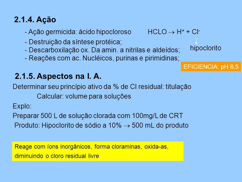 2.1.4. Ação - Ação germicida: ácido hipocloroso. HCLO  H+ + Cl- Destruição da síntese protéica;