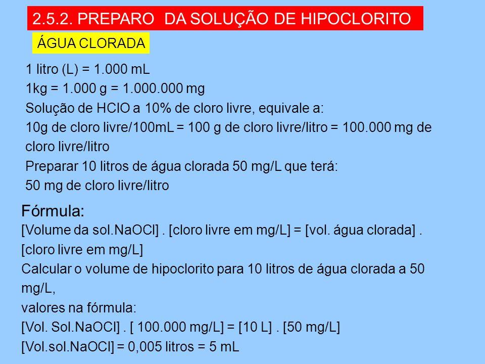 2.5.2. PREPARO DA SOLUÇÃO DE HIPOCLORITO